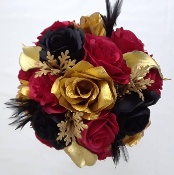 Wedding Bouquet Feathers Red Black Roses Gold Calla Lily
