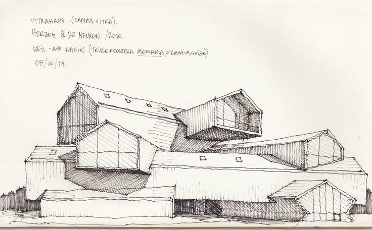 Croquis - Vitra Haus, blanco y negro - por Facundo Alvarez
