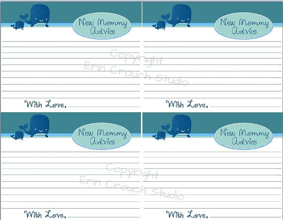 Mommy advice cards for a Ahoy It's a Boy Whale Themed Baby Shower