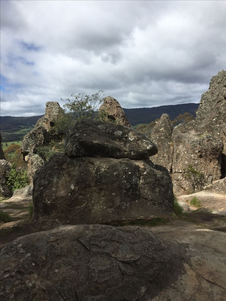 Hanging rocks on top of them
