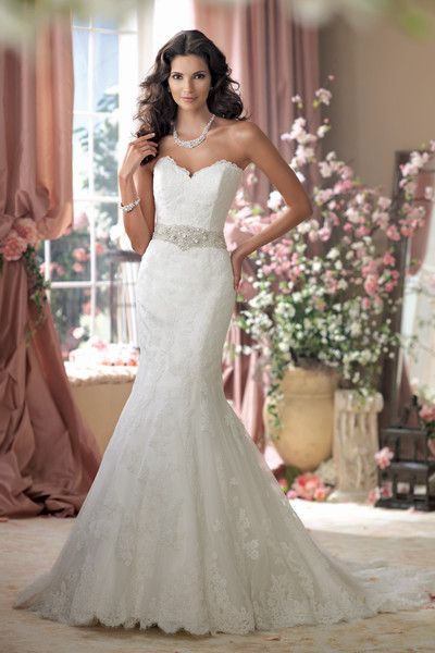 Style #114274 Strapless allover Alencon lace mermaid wedding dress with scalloped sweetheart neckline, intricately hand-beaded jeweled b...