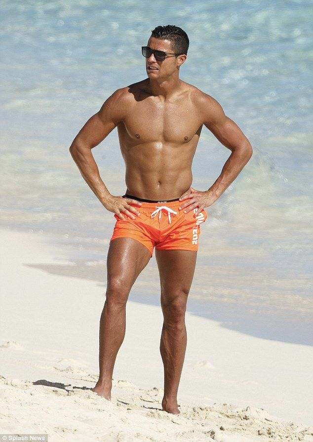 Cristiano Ronaldo. Baywatch moment: The hunk sent pulses racing as he emerged from the water, modelling a pai...
