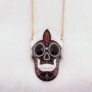 Betsy inspired black skull necklace  pendant great for diy phone bling | chriszcoolstuff - Craft Supplies on ArtFire