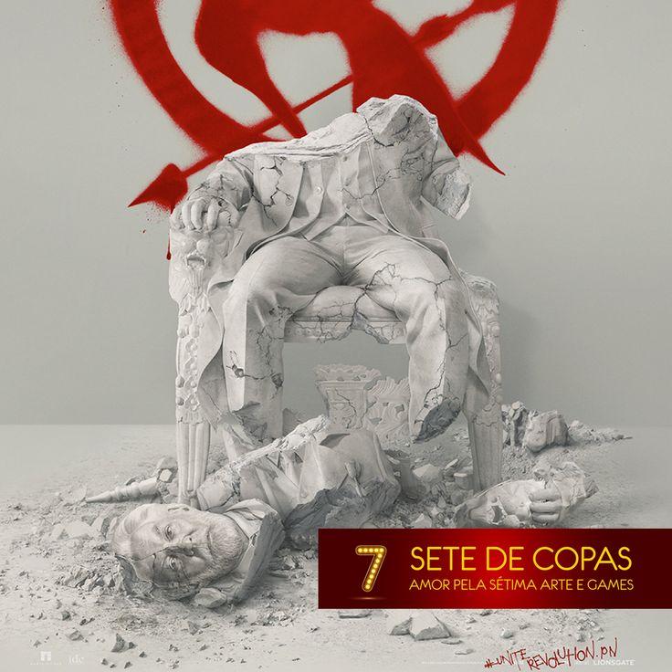 A continuação de #JogosVorazes - A Esperança Parte 2 ganhou um novo cartaz! Ele mostra a queda da Capital com uma estátua destruída do Presidente Snow. A conclusão da saga chega aos cinemas no final desse ano 7♥