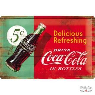 shabbyflair Metallschild im Retrostil von Nostalgic Art mit Coca-Cola-Werbung, abgebildet ist eine typische Cola-Flasche Die Metallschilder von Nostalgi