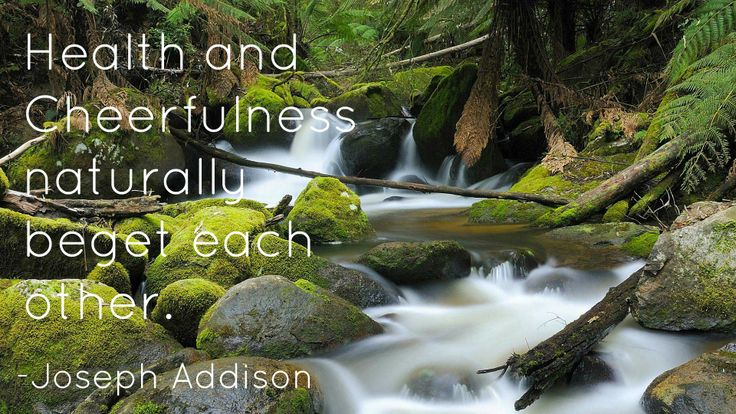 """""""Health and cheerfulness naturally beget each other."""" - Joseph Addison"""