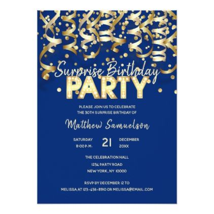 Gold Blue Boy Men Streamer SURPRISE BIRTHDAY PARTY Card - birthday invitations diy customize personalize card party gift