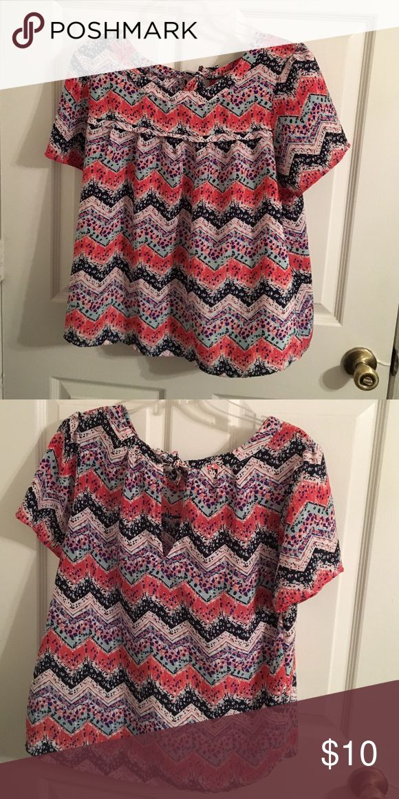 Spotty Chevron top Flowy and cute! spotty Chevron pattern. Ties in the back. Japna Tops Blouses