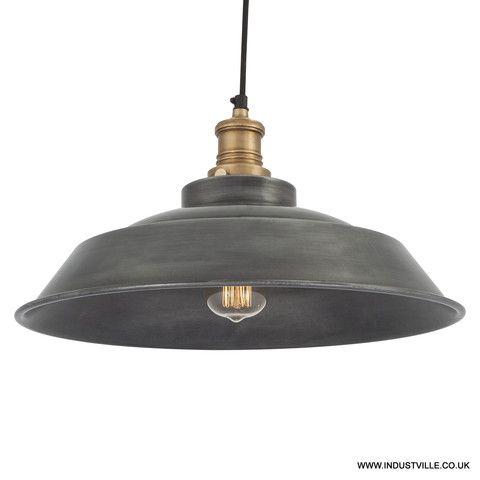 Brooklyn Vintage Step Metal Lamp Shade Dark Grey Pewter