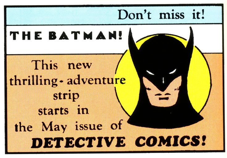 This Day in History: Detective Comics #27 - the 1st appearance of Batman! Description from legionsofgotham.blogspot.com. I searched for this on bing.com/images
