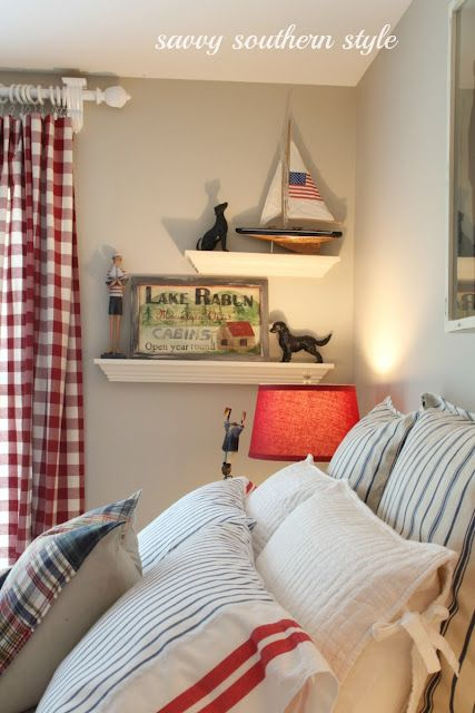 Nautical styled bedroom by Savvy Southern Style, featured at I Love That Junk