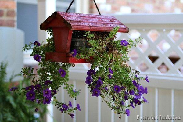 DIY hanging flower planter not for the birds Petticoat Junktion