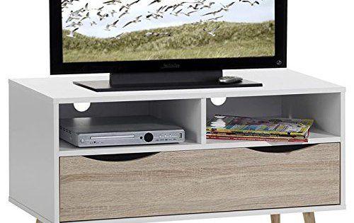Meuble banc TV design GENOVA MDF décor blanc chêne sonoma: Dimensions (L x H x P): 90 x 54 x 39 cm Structure en panneau de bois aggloméré…
