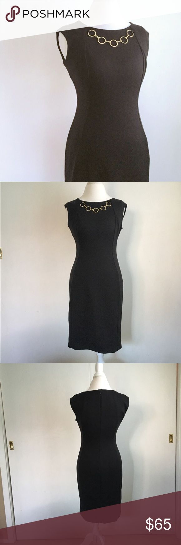 calvin klein dress Gorgeous and incredibly classy Calvin Klein dress. Black Ponte knit (super stretchy, super comfy) with built in faux gold chain necklace. Extremely flattering silhouette. Sleeveless. Kick vent in back. Size 6. Brand new with tags! / dress, Ponte, knit, jersey, stretch, career, work, evening, event, bnwt, NWT / Calvin Klein Dresses