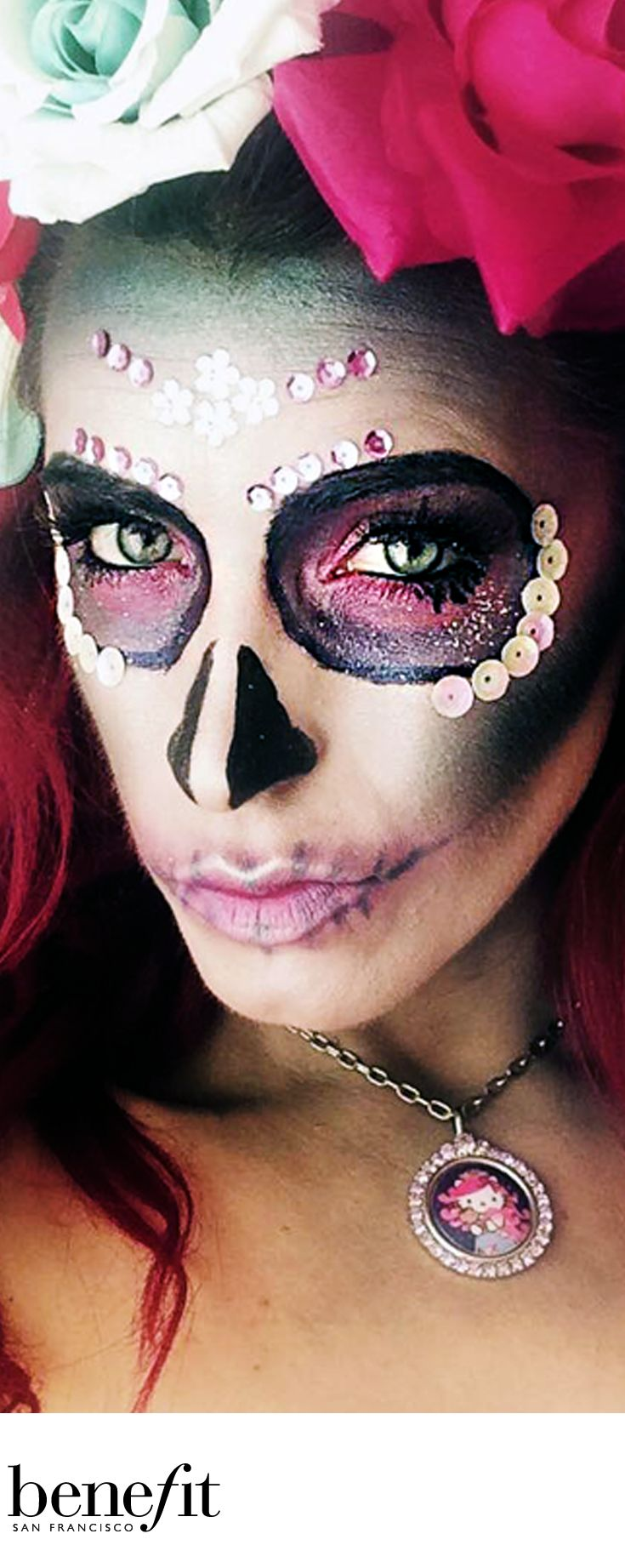 Check out this stunning makeup from our gorgeous Amy-Lou Faulkner who is part of our Trend Team at Benefit Cosmetics. This candy skull still manages to look scary but a hint of gorgeous with the pink tones! Perfect for a Halloween fancy dress party! xx