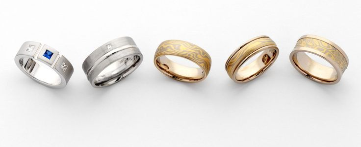 Never one to leave out the gentlemen, 18ct white gold, #platinum and #mokume gane #rings by MDTdesign