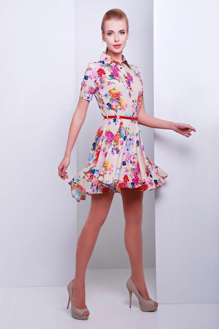 Бежевое платье из хлопка с короткой юбкой Розмари к/р. Цвет: бежевый-букет
