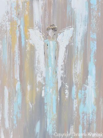 GICLEE PRINT Art Abstract Angel Painting Angel in Blue Wall Art~ Joyful Heart Foundation Charity - Christine Krainock Art - Contemporary Art by Christine - 5