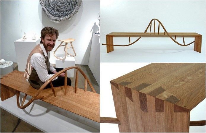 @angus ross with his Tay Bench - shortlisted for the Wood Awards 2013