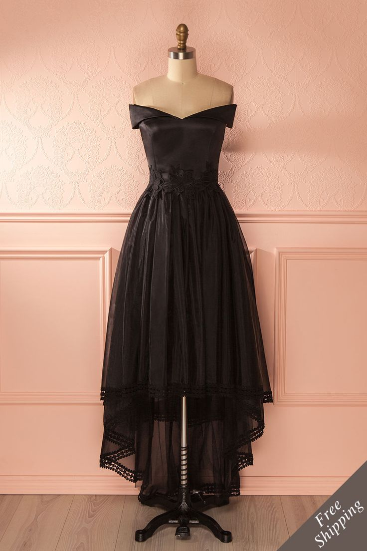 Janae Sombre - Black organza high-low gown www.1861.ca