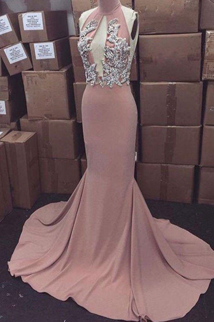 Elegant chiffon halter high neck applique sequins backless mermaid dresses,floor-length