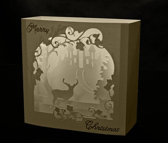 3D  Deer Scene Box card or room decoration DIGITAL download svg pdf cricut studio