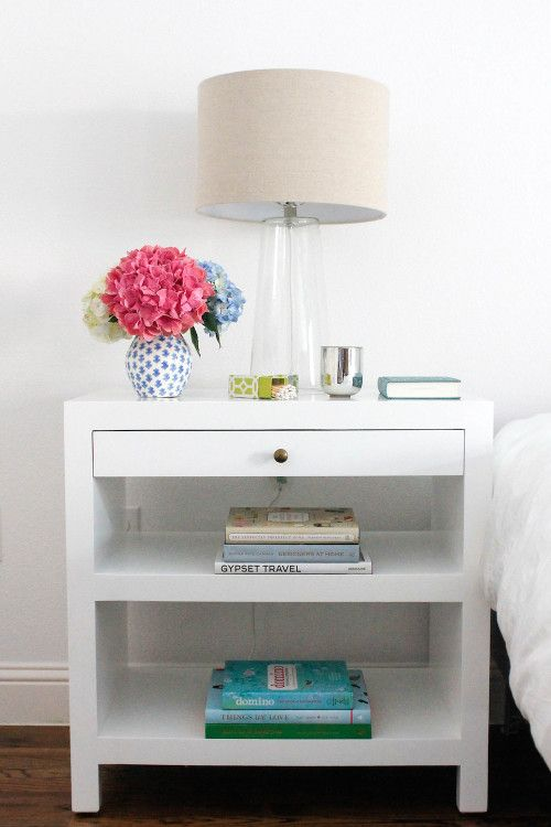 Bedside table styling.