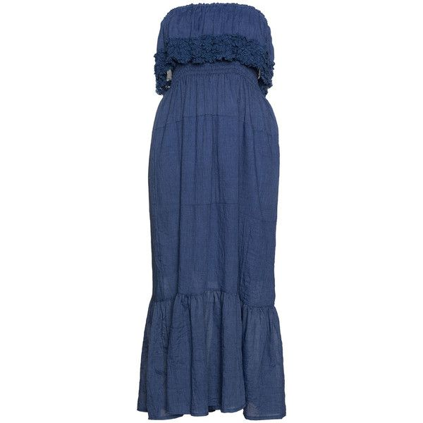 Yoek Blue Plus Size Frilled bandeau maxi dress ($145) ❤ liked on Polyvore featuring dresses, blue, plus size, bohemian maxi dress, boho dresses, maxi dress, women plus size dresses and blue lace dress