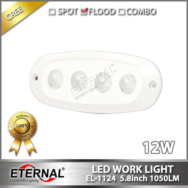 12W marine led work light with flush mount flood beam white housing for marine boat yatch water powersports