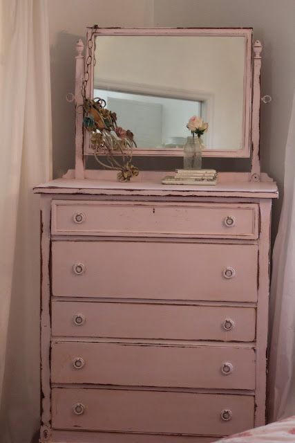 Antique tall chest of drawers with swivel mirror painted PINK