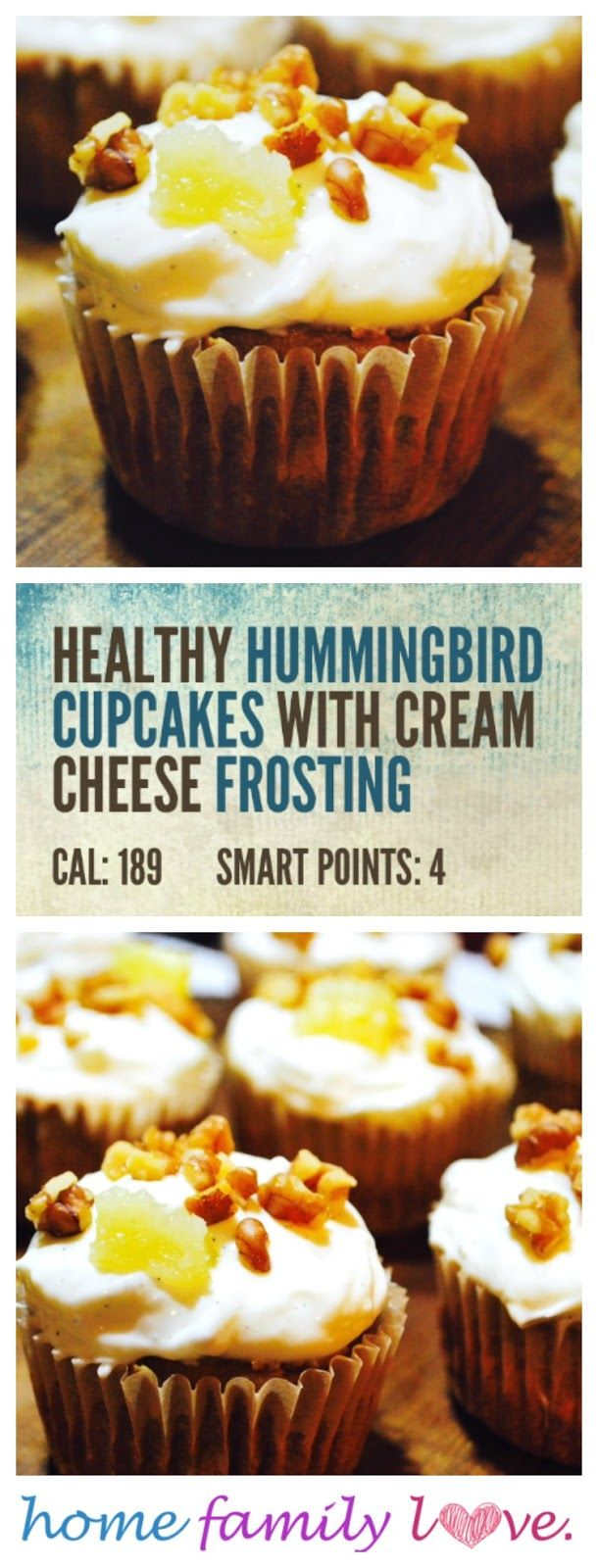 Healthy Hummingbird Cupcakes with Cream Cheese Frosting