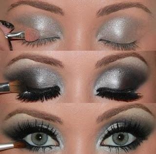 How to: Silver/Black glittery smokey eyes