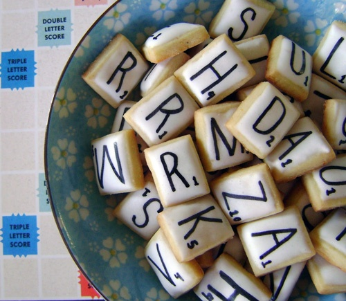 Scrabble cookies. i hold do this for my moms birthday at the end of the month! she looovess scrabble!