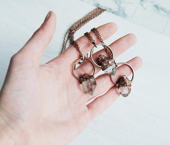 Herkimer diamond necklace crystal quartz pendant raw crystal  #herkimer #quartz