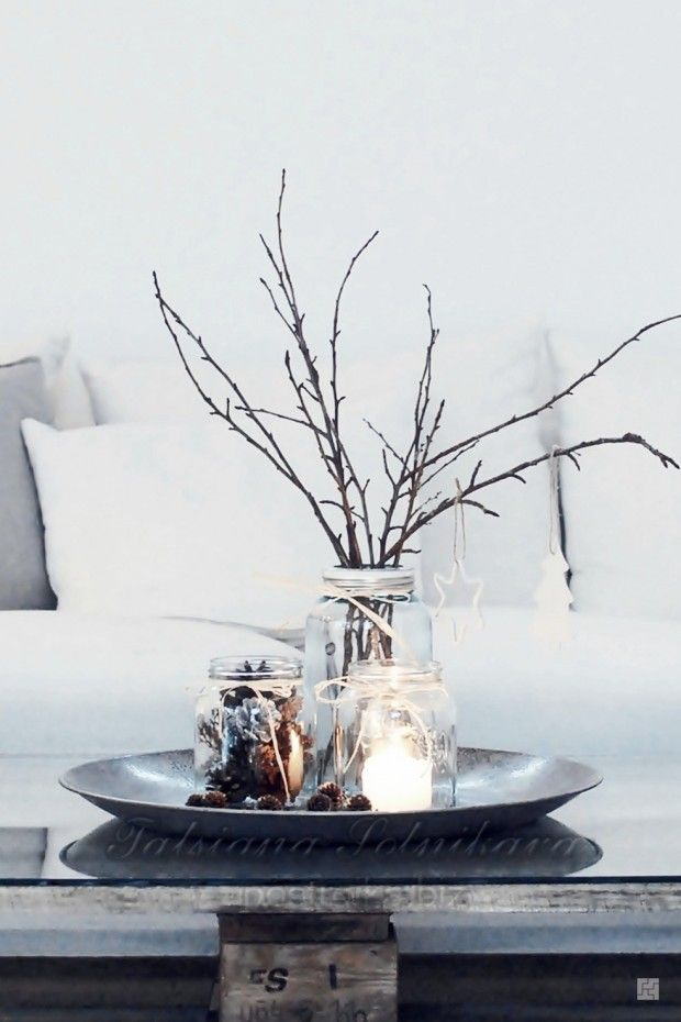 Simple but so effective..... Christmas decoration with twigs, ad glass jars. #White Christmas