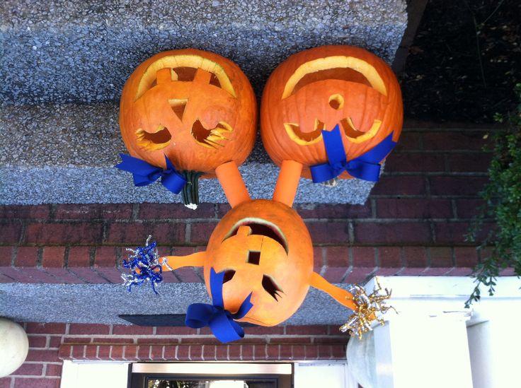 Cheerleading stunting pumpkins