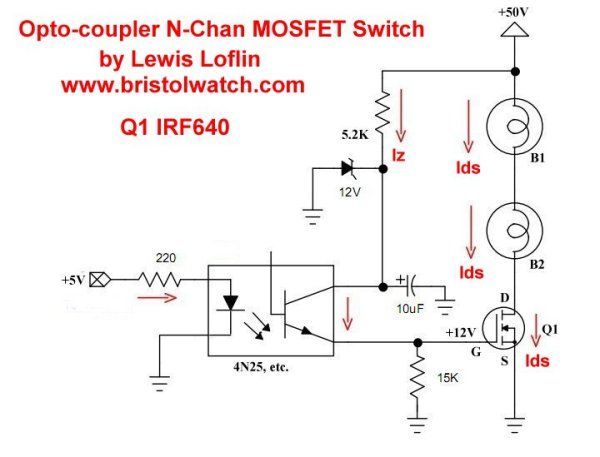 N Channel Opto Isolated Mosfet Switching Circuit Using Irf630 Circuit Electronics Basics High Voltage