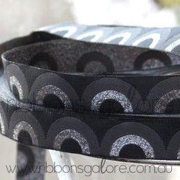 retro waves ribbon | grey (15mm wide) [per metre]