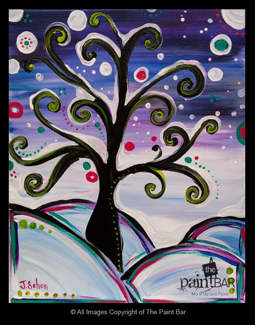 """Snowy Funky Tree Painting - Great crayon resist, color study, seasonal painting!  I'll use Klimt's """"Tree of Life"""" for an Art History connection!"""