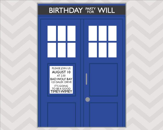 Get ready for a fantastic Doctor Who birthday with these TARDIS party invitations! Allons-y!    Please note, the text on the police box notice with the