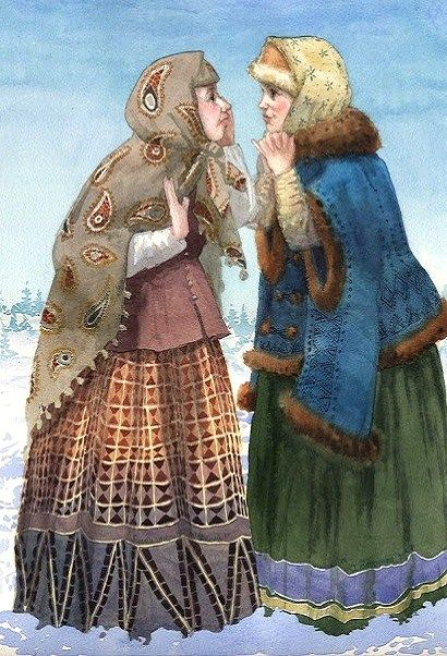 """Interesting Talk"" by Ekaterina Goncharova, a contemporary Russian artist. #art #painting #Russian #costume"
