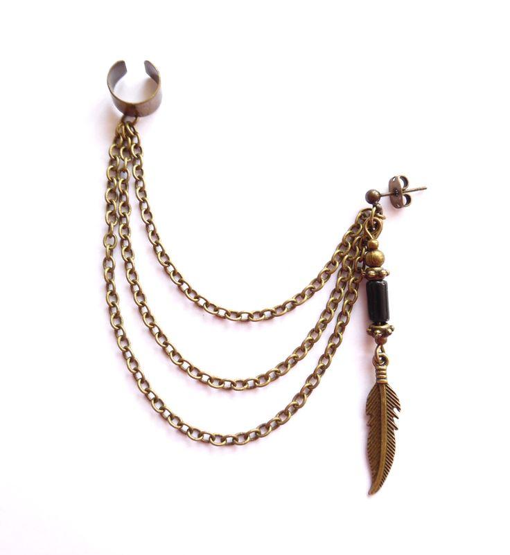 Ear cuff i brons med kedjor och svart onyx.