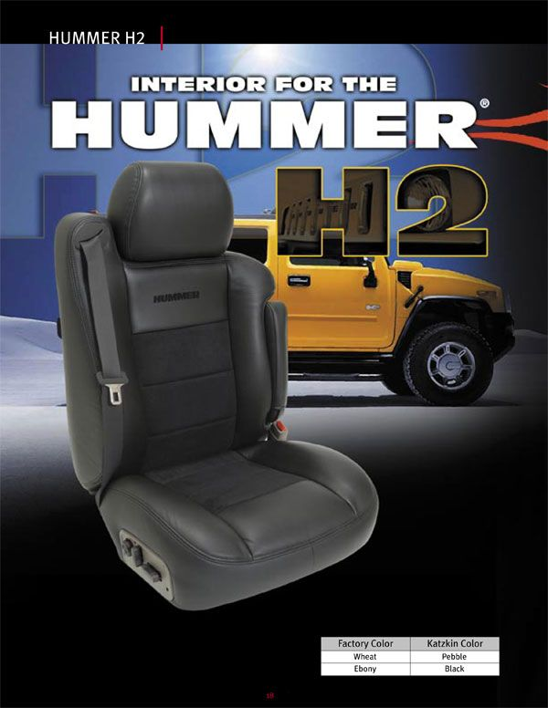 Replace your cloth seats or worn leather on your Hummer H2 with KATZKIN LEATHER seat covers. ALWAYS FREE US SHIPPING. Shop online or Call 888-490-7727 TODAY!  (BAG03)