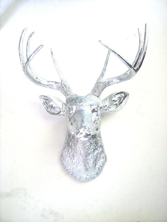 Fausse tête de cerf de taxidermie mur Mont Tenture murale décoration : ainsi la tête de cerf en argent