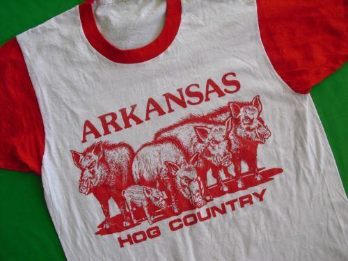 Vtg 80s University of Arkansas Razorbacks Hog Country T Shirt Screen Stars M L | eBay