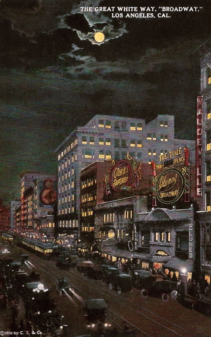 A postcard image of los angeles the great white way circa 1916