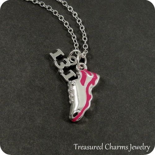 Half Marathon Running Shoe Necklace Silver and by treasuredcharms