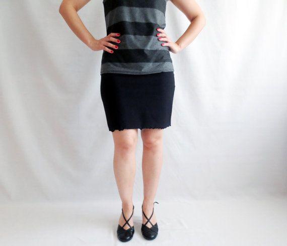 Black skirt Mini skirt Jersey skirt Petite Pencil by AliceCloset