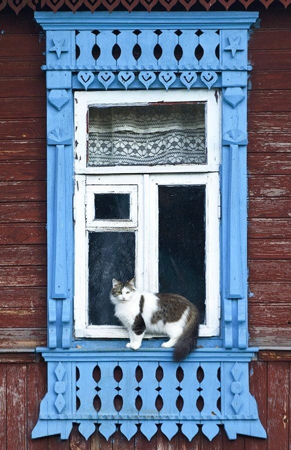 Russian wooden house. A window with carved decorations and a cat. #Russian #wooden #house