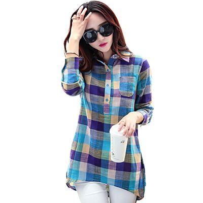 Женская хлопково-льняная рубашка в клетку, с длинным рукавом